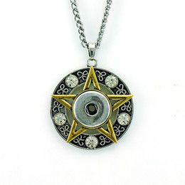 Fashion Pendant Necklaces Gold Plated Rhinestone Star 18mm Ginger Snap Buttons Interchangeable For Men Statement Necklace Jewelry