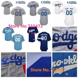 Factory Outlet Personalize Cheap Los Angeles Dodgers Any Name Any Number Blue White Gray Throwback Cool Base Flex Base Baseball Jerseys