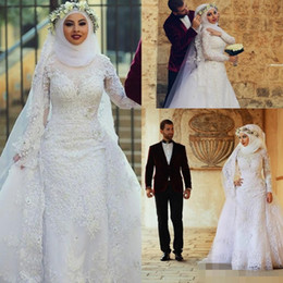 2019 Long Sleeves Lace Muslim Mermaid Wedding Dresses Arabic Islamic Hijab Wedding Dress High Neck Bridal Gowns with Long Train Appliques