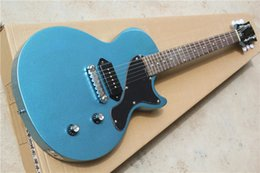 High Quality New Arrival Hot Selling Junior Standard P90 Pickup Metal Blue 6 Strings Electric Guitar Free Shipping Wholesale & Retail