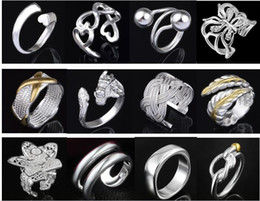 (Jewelry Factory) Beautiful mixed 50pcs Charm 925 silver Ring With Side Stones jewelry Lowest price Fashion 1344