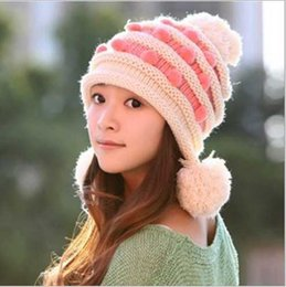 Wholesale Fashion Designer Ladies Knitted Pompom Beanie Womens Winter Head Warmer Caps Fancy Ball Hats Cable Hair Bucket Chemo Hat Colors Sale