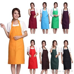 Wholesale 100PCS HHA217 Hot Plain Apron with Front Pocket Bib Kitchen Cooking Craft Baking Art Adult Size