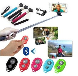 Wholesale 3 in kit set Bluetooth Remote Shutter Phone Clip Camera mobile phone Selfie Stick Monopod iPhone IOS Samsung Android with retail box