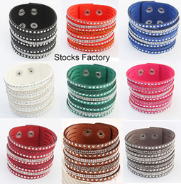 Wholesale Bling Bling Multilayer Crystal Rhinestone Leather Bracelet Velvet Leather Wrap Wristband Adjustable Size Button Clasp Bangles Colors