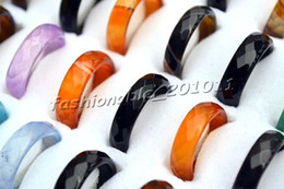Wholesale 2016 Fashion jewelry Multicolor Natural Agate Stone Smooth women s Rings r0199y