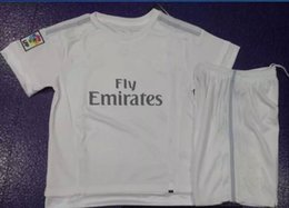 Wholesale 15 madrid home white soccer jerseys with short customized children s youth kids baby boys girls soccer uniforms football kits