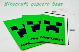 Wholesale Minecraft Popcorn Paper Pack bags green Environmental protection Cinema Candy Cookie Container Chirst Party Favors Package inchX9 inch DHL