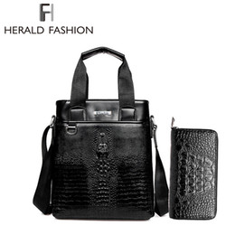 Wholesale Men s Crocodile Alligator Leather Handbags Crossbody Bag Buy Handbag Get Wallet For Free Business Commuter Bag Long Wallet