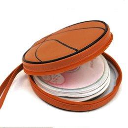 Wholesale Orange Basketball Pattern Zippered Round Case Pieces Capacity DVD CD Holder Bag