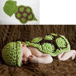 2014Cute Baby Girls Boy Newborn 9M Knit Crochet Green Tortoise Photo Prop Outfits