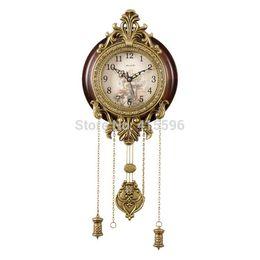 Wholesale Metal Art Antique Solid Wooden Wall Clock Silent Movement Pendulum Clocks Home Decor
