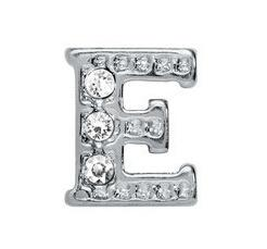 """Wholesale 20PCS diamond Silver Alphabet Letter """" E """" Floating Locket Charm Fit For Jewelry Making Gift For Friends"""