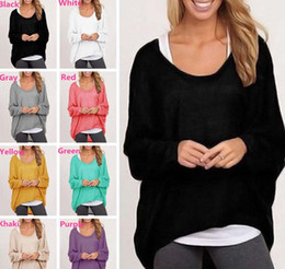 Senhoras jumpers casuais On-line-New Arrivals Ladies Womens Tops Blusas T-shirts Camisola de malha Algodão Blend Baggy Jumper Batwing Loose Pullover