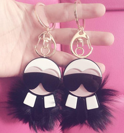 Free shipping 2016 brand karl face glass pom key chain free shipping best design fur bag accessories.