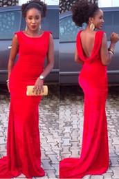 Promotion robe formelle bas dos rouge 2016 nouveau sexy au bas du dos en mousseline de soie des robes de bal rouge sirène soirée Party robes bon marché à long formelle Robes Robe Pageant robe Celebrity Porter