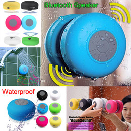 Wholesale 6 Colors Portable Waterproof speakers Wireless Bluetooth Speaker Shower Car Handsfree Receive Call Music Suction Phone Mic Speaker Pad