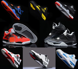 retro 4 toro bravo fear pack white cement men women basketball shoes sneakers 2016 bred high cut sports shoes US sizes 5.5-13
