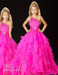 Hot Selling One Shoulder Hot pink Little Girl's Pageant Dress Flower Girl Dress A-Lin Floor Length Dress