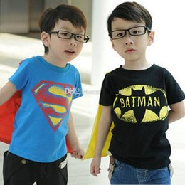 Wholesale Hot sale summer new baby boys kids superman shirt batman shirts tops boys short sleeve tee balck blue t shirt shawl cape cotton pajamas
