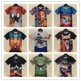 FG1509 [Alice]free shipping2015 Europe and America Hot 3d t shirt men boy casual tshirt short sleeve summer tee print tshirts 21models