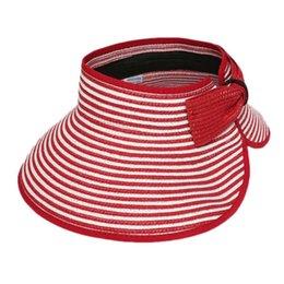 Wholesale-Fashion Portable Women Striped Empty Top Summer Hats Straw Sun Hat Chapeu Feminino Rolled Trim Foldable Beach Hat HT-0161
