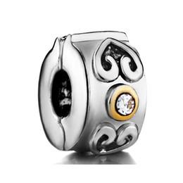 Plating Copper Material Bracelet Locket European Heart Crystal Clip Stopper Charm Bead Fit Pandora Bracelet