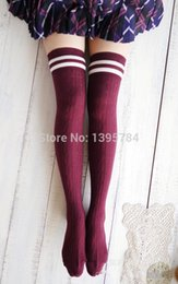 Wholesale-3pair lot hot cotton thigh highs socks women plus size over knee socks long leg warmers meias black striped hose wholesale