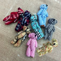 Bluk 6cm Cloth Joint Small Teddy Bear Pendants miniature bear Key chain Phone Bag Bouqeut jewellery accessory gift Soft Dolls