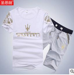 Fall-Summer Sport Suit Men Brand 2015 Casual Floral Guchi Men Clothing Set Cotton T Shirt+Shorts Tracksuits M-XXXL Multiple colors