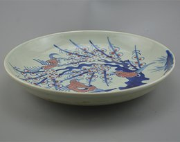 Wholesale Used Lihong Qing Mei magpie point pattern plate antiques antiques antique porcelain hand painted classical ornaments home