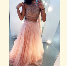 Two Pieces Beading Prom Dresses 2015 Jewel A lineTulle Fabric Floor length Custom Made Dress Party Evening High Quality