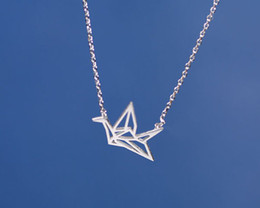 Wholesale 10PCS N005 Gold Silver Origami Crane Necklace Paper Crane Necklace Tiny Little Swallow Baby Bird Necklaces Jewelry for women