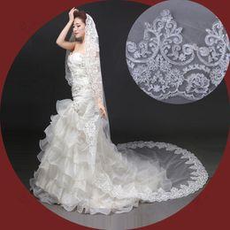Wholesale bridal veils véu mantilha ivory lace applique edge cathedral length veil veu de noiva metros wedding veil ivory tocados para bodaTS1106