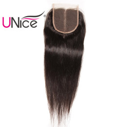 UNice Hair Peruvian Straight Middle Part Closure 4x4 Lace Closure Unprocessed Human Hair Lace Closures Swiss Lace Natural Color