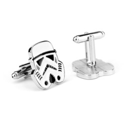 Wholesale Star Wars Darth Vader Stormtrooper Star Wars Logo battleships Mask Helmet Wedding Groom Men Cuff Links Cufflinks For Mens Newest