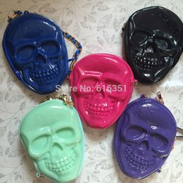Wholesale-High quality designer PVC embossed halloween skull wallet coin purse phone bags shoulder chain bags fashion