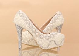 Perles de diamant hauts talons en Ligne-Nouvelle chaussures de mode de mariée imperméable chaussures à talons hauts de mariage, blanc perle de cristal grandes chaussures de mariage de diamants, chaussures de demoiselle d'honneur HY00282