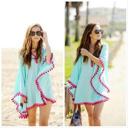 Swimwear Cover-Ups Summer Dress bikini swimsuit beach cover up for women drooping tassels bat sleeve capes dress Beach blouse Chiffon Shirts