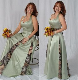 Wholesale Camouflage Tree Camo Mother of the Bride Groom Dresses For Forest Wedding Plus Size Mermaid Halter Long Satin Formla Evening prom Dress