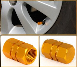 Wholesale 4Pcs Set Aluminum Alloy Tire Air Rim Valve Stem Caps For Car Truck ATV Bicycle Motorcycle Wheel Rim Golden Yellow M8956