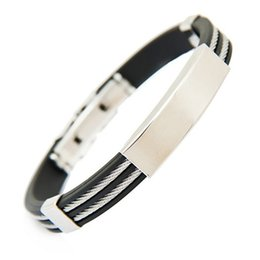 Wholesale-Men's Fashion Rubber Two Layers Stainless Steel Wristband Bangle Bracelet Jewelry