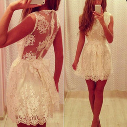 Cheap Lace Homecoming Dresses 2015 cocktail dresses Sleeveless Ribbon Sash Above Knee Length Short Prom Gowns Zipper Back Custom Made