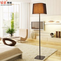 Wholesale Modern light floor lamp fixtures square fabric lampshade standing lamps wrought iron art light poles standing indoor lightings v v