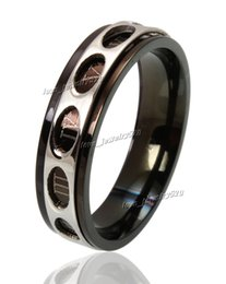 10pcs 316L Rings Fashion lots Jewelry Titanium Silver Black Band Stainless Steel Ring For Women Size 7-11