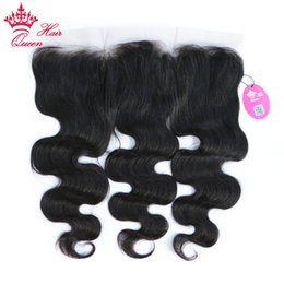 "Queen Hair Brazilian Virgin Human Hair Lace Frontal Closure 13""x4"" 10""-18"" Body Wave Lace Frontal Brazilian Wavy Closure ear to ear weave"