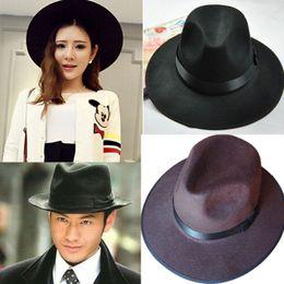 Wholesale-New Fashion Vintage Women Wide Brim Ribbon Warm Wool Blend Felt Hat Bowler Trilby Fedora Cap Cowboy Hat