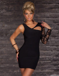 Fashion Dress Hot One-shoulder Lace Black Charming Party Dress With Lace In One Arm Optics W3467
