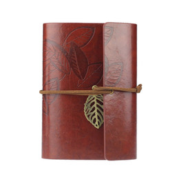 Wholesale-Supperior Vintage Leaf Leather Cover and Loose Leaf Blank Notebook Journal Diary Writting July15