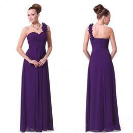Generous Dress Long Purple Bridesmaid Dresses A-line One Shoulder Wedding Ceremony Dress Gowns Flowers Chiffon Eggplant Bridesmaid Dresses